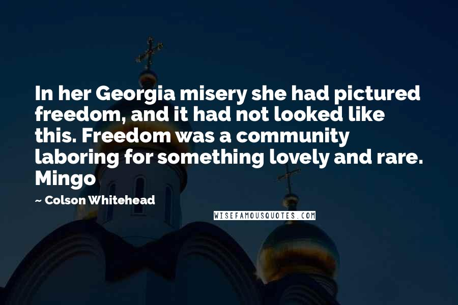 Colson Whitehead quotes: In her Georgia misery she had pictured freedom, and it had not looked like this. Freedom was a community laboring for something lovely and rare. Mingo
