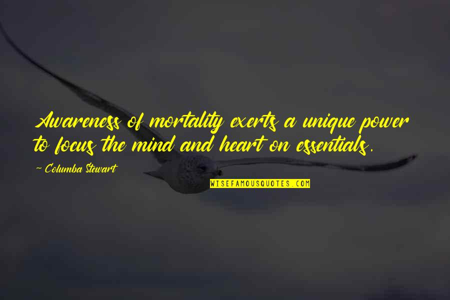 Columba Quotes By Columba Stewart: Awareness of mortality exerts a unique power to