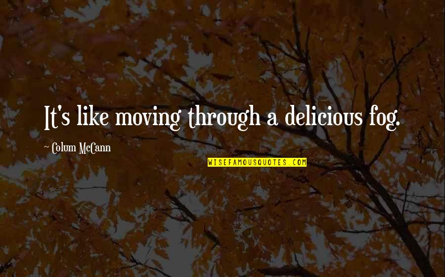 Colum's Quotes By Colum McCann: It's like moving through a delicious fog.