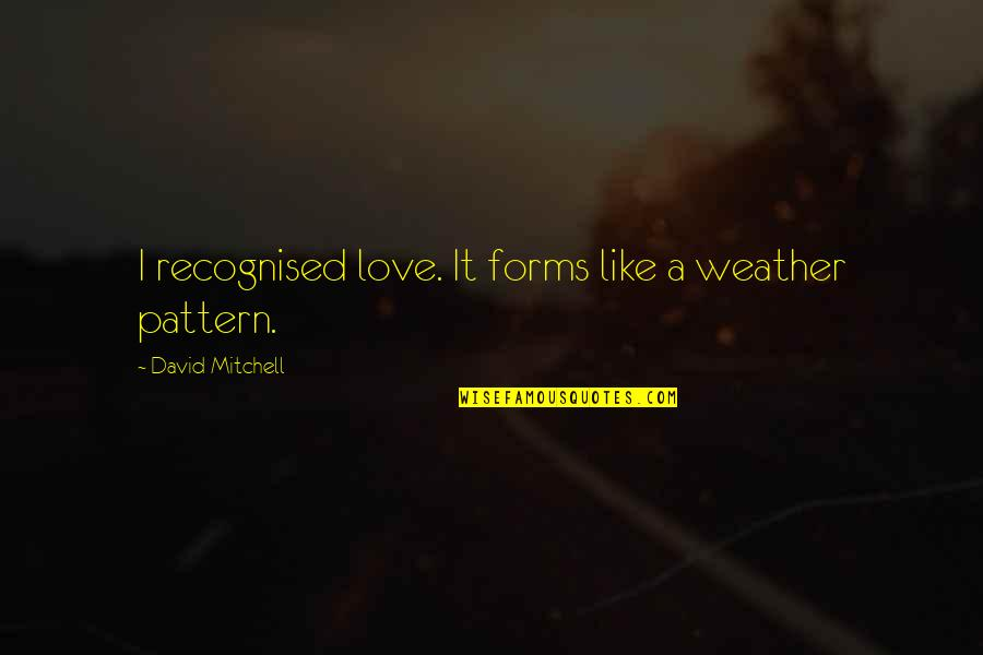 Combat Engineer Quotes By David Mitchell: I recognised love. It forms like a weather