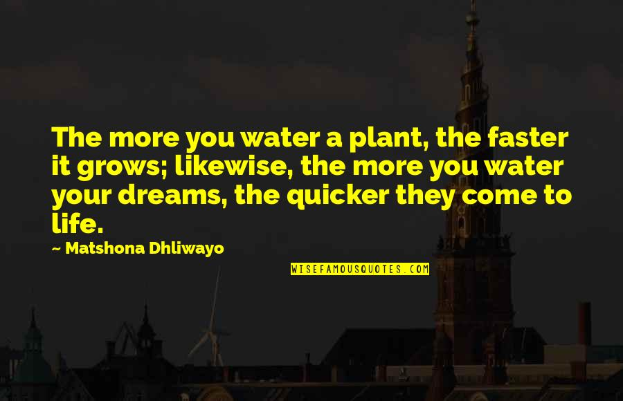 Come Faster Quotes By Matshona Dhliwayo: The more you water a plant, the faster