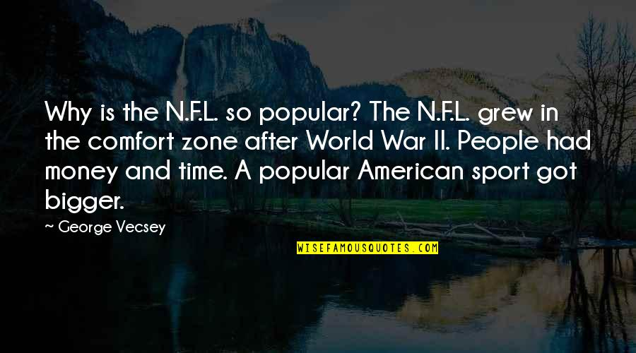 Comfort Zone Quotes By George Vecsey: Why is the N.F.L. so popular? The N.F.L.