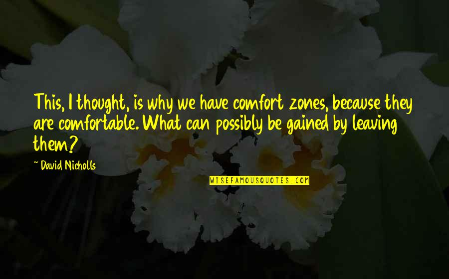 Comfort Zones Quotes By David Nicholls: This, I thought, is why we have comfort