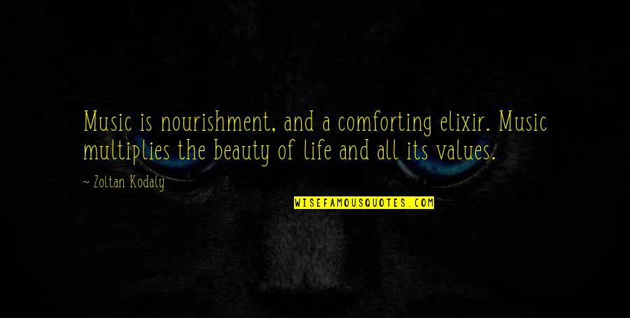 Comforting Quotes By Zoltan Kodaly: Music is nourishment, and a comforting elixir. Music