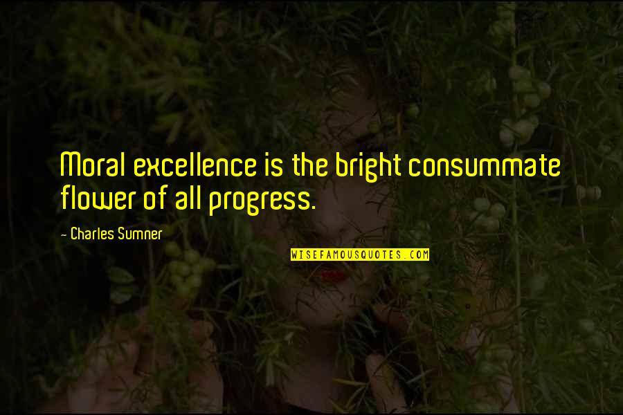 Comic Wise Quotes By Charles Sumner: Moral excellence is the bright consummate flower of