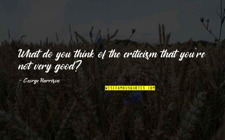 Comic Wise Quotes By George Harrison: What do you think of the criticism that