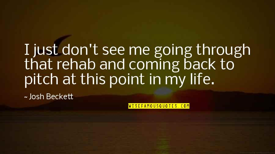 Coming Back Into My Life Quotes By Josh Beckett: I just don't see me going through that