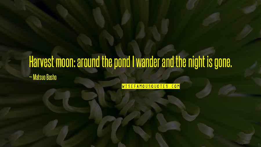 Coming To Terms With Grief Quotes By Matsuo Basho: Harvest moon: around the pond I wander and
