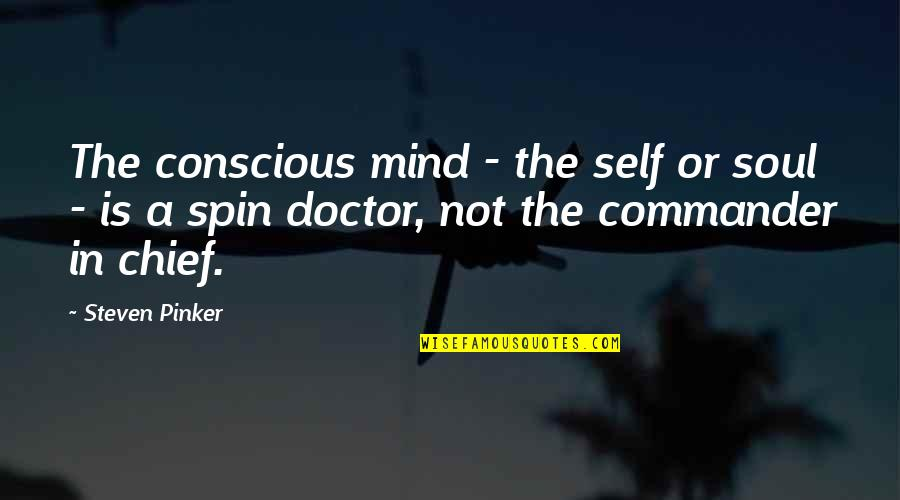 Commander In Chief Quotes By Steven Pinker: The conscious mind - the self or soul