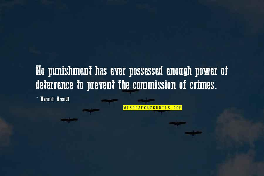 Commission Quotes By Hannah Arendt: No punishment has ever possessed enough power of