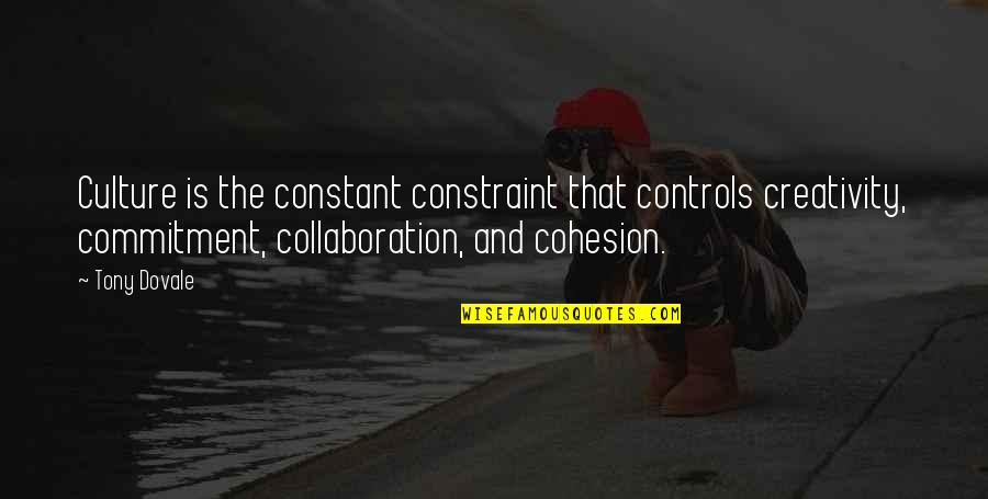 Commitment In The Workplace Quotes By Tony Dovale: Culture is the constant constraint that controls creativity,