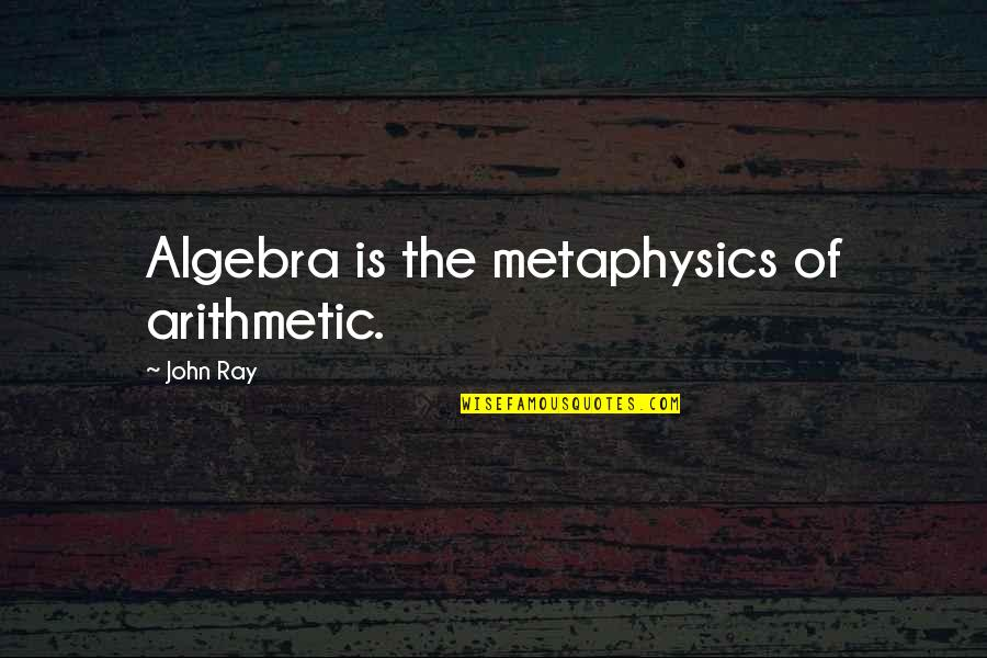 Common Air Force Quotes By John Ray: Algebra is the metaphysics of arithmetic.