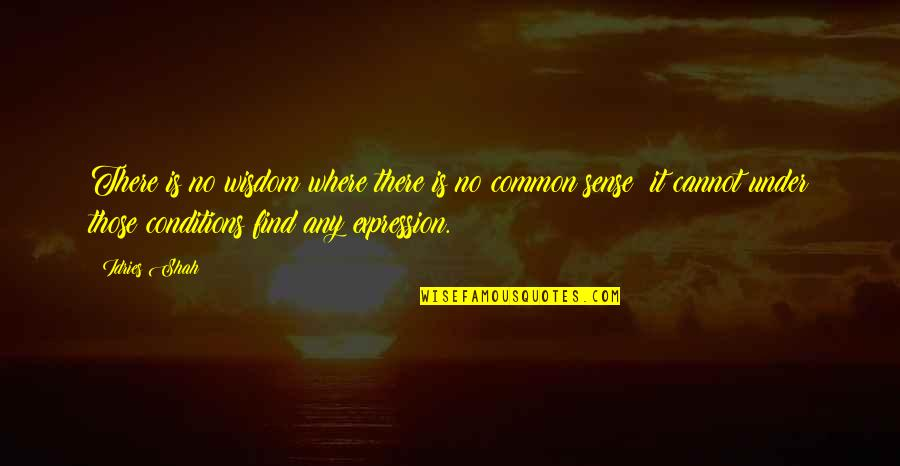 Common Sense Quotes By Idries Shah: There is no wisdom where there is no
