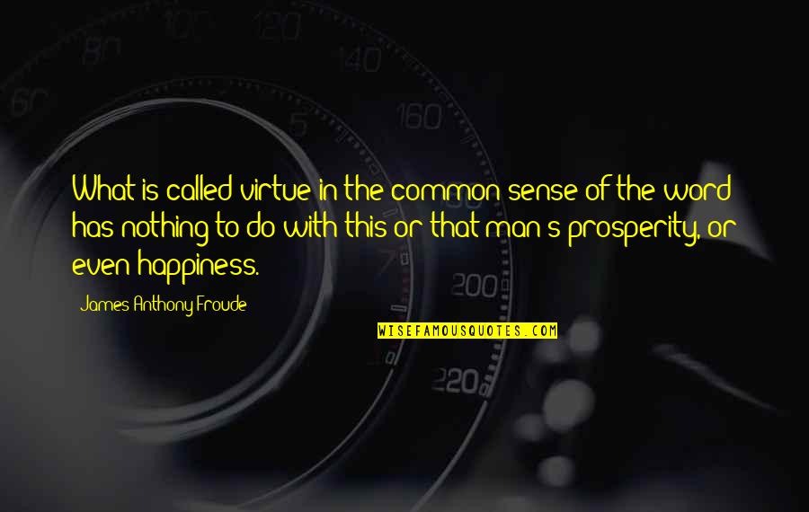 Common Sense Quotes By James Anthony Froude: What is called virtue in the common sense