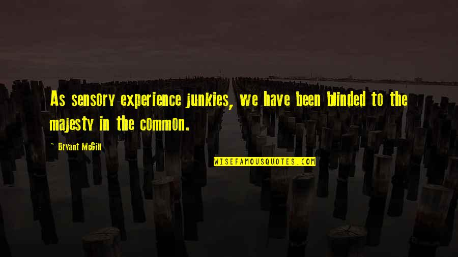 Commonality Quotes By Bryant McGill: As sensory experience junkies, we have been blinded