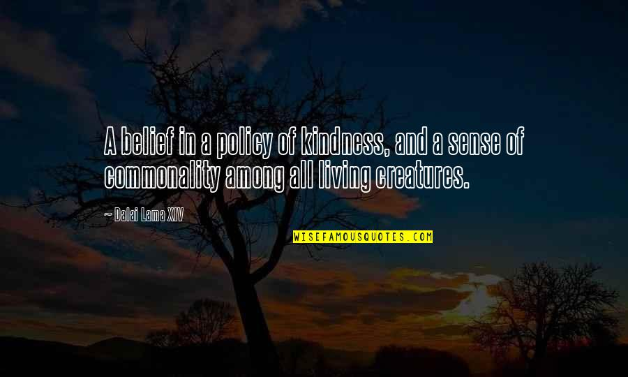 Commonality Quotes By Dalai Lama XIV: A belief in a policy of kindness, and