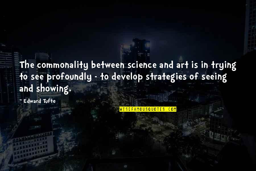 Commonality Quotes By Edward Tufte: The commonality between science and art is in