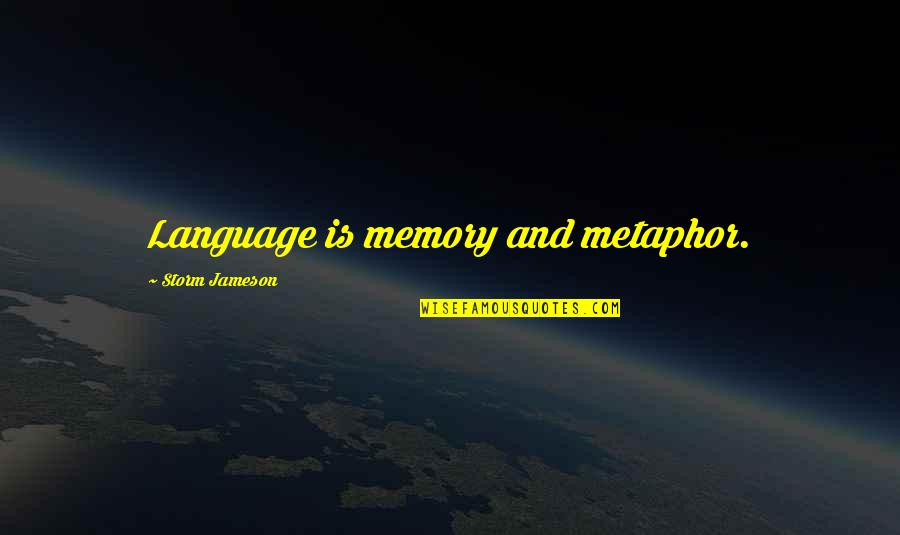 Communication And Language Quotes By Storm Jameson: Language is memory and metaphor.