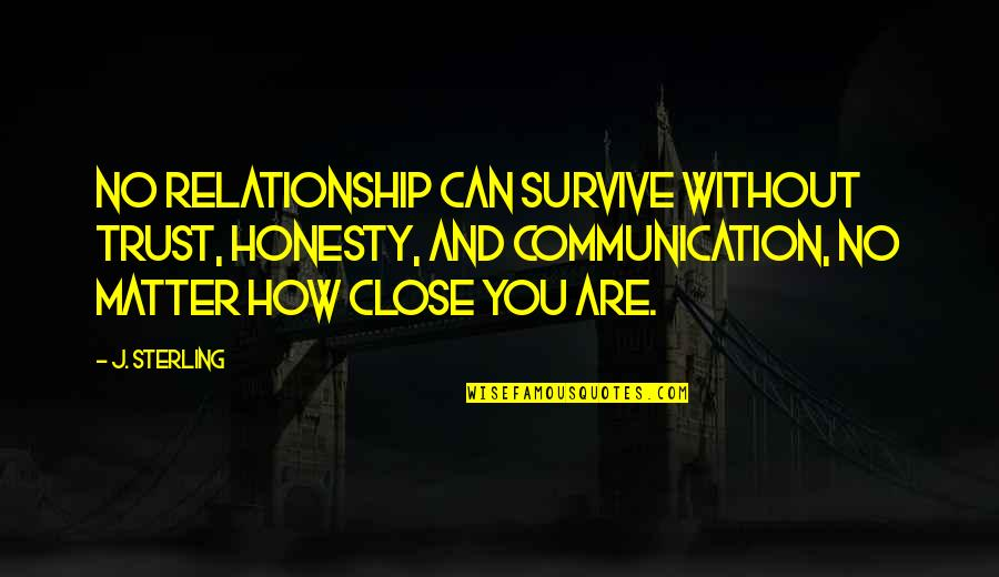 Communication And Trust Quotes By J. Sterling: No relationship can survive without trust, honesty, and