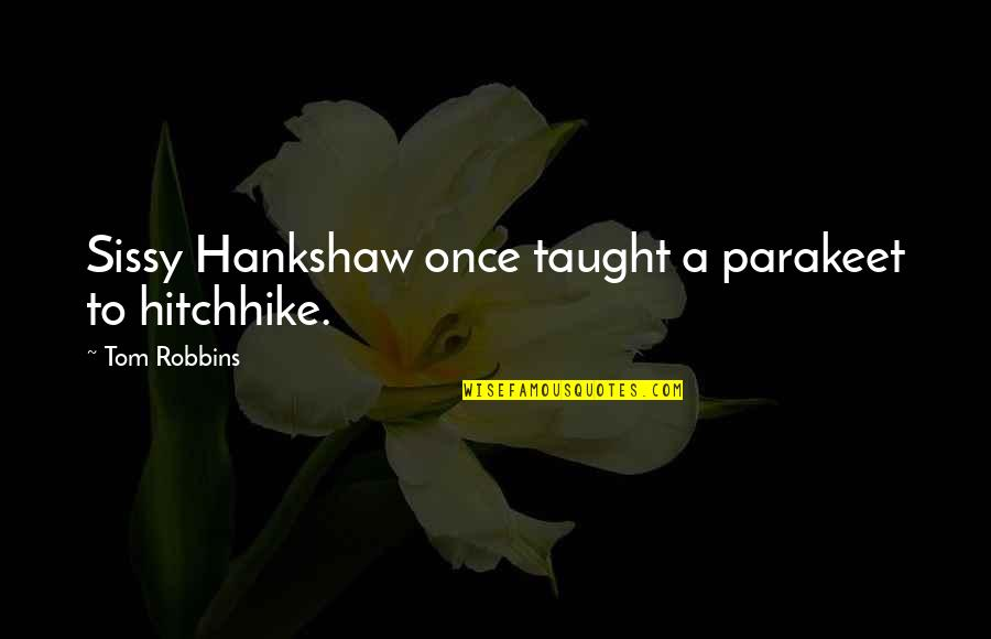 Community Season 1 Episode 3 Quotes By Tom Robbins: Sissy Hankshaw once taught a parakeet to hitchhike.
