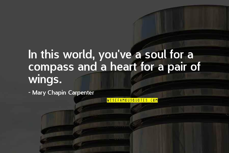 Compass'd Quotes By Mary Chapin Carpenter: In this world, you've a soul for a