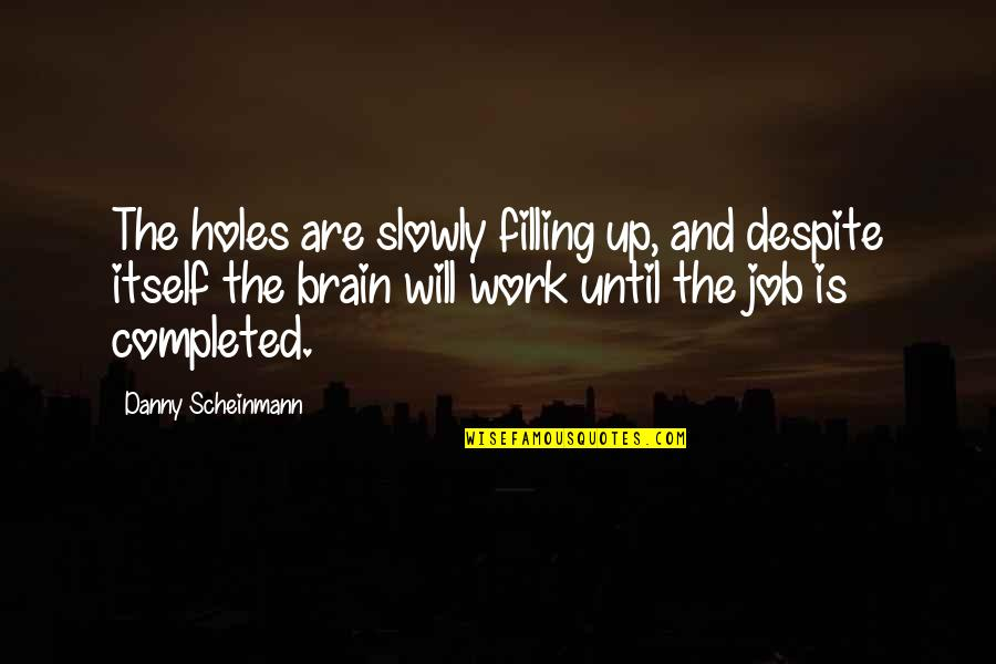 Completed Work Quotes By Danny Scheinmann: The holes are slowly filling up, and despite