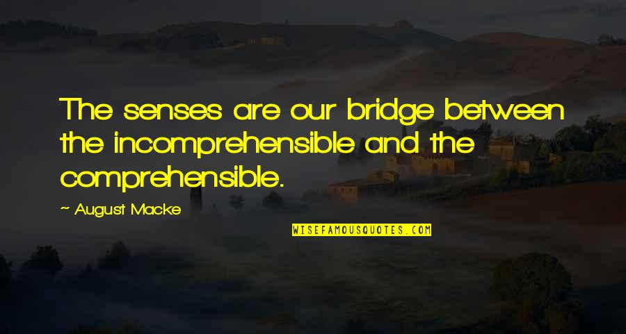Comprehensible Quotes By August Macke: The senses are our bridge between the incomprehensible