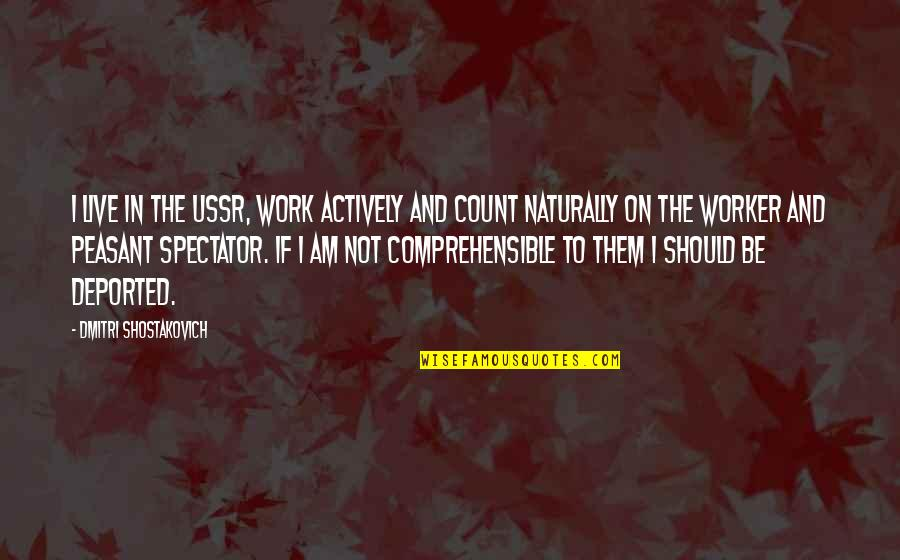 Comprehensible Quotes By Dmitri Shostakovich: I live in the USSR, work actively and