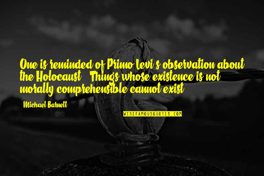 Comprehensible Quotes By Michael Barnett: One is reminded of Primo Levi's observation about
