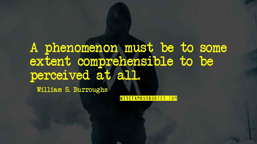 Comprehensible Quotes By William S. Burroughs: A phenomenon must be to some extent comprehensible