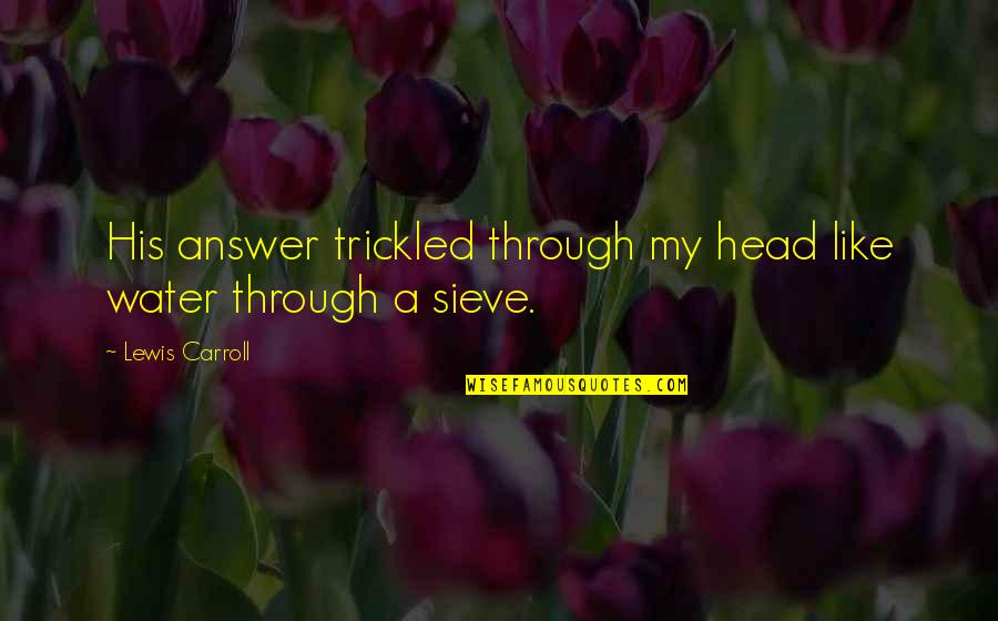 Computer Programing Quotes By Lewis Carroll: His answer trickled through my head like water