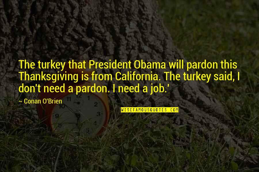 Conan O'brien Quotes By Conan O'Brien: The turkey that President Obama will pardon this