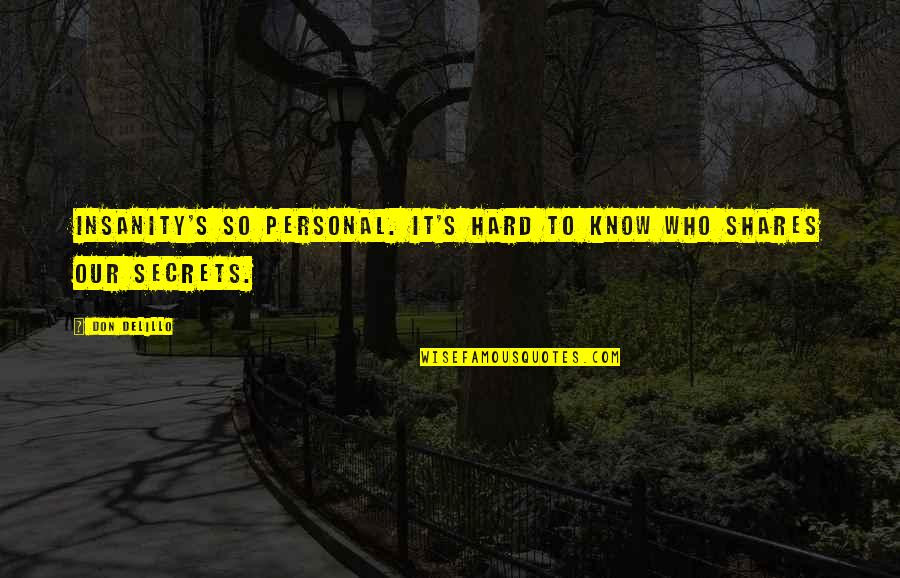 Concatenated Quotes By Don DeLillo: Insanity's so personal. It's hard to know who