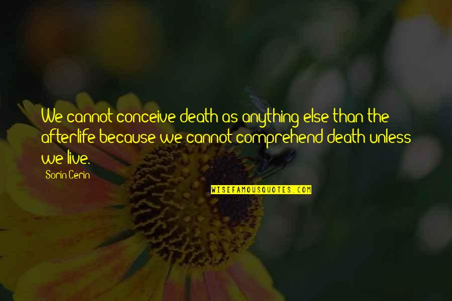 Conceive Quotes By Sorin Cerin: We cannot conceive death as anything else than