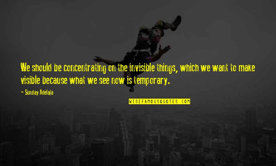 Concentrating Quotes By Sunday Adelaja: We should be concentrating on the invisible things,