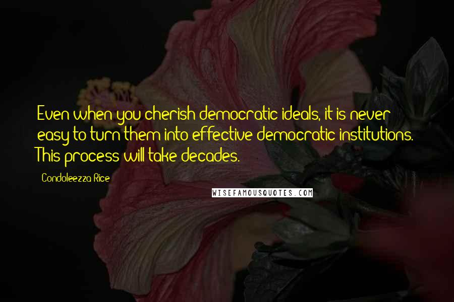 Condoleezza Rice quotes: Even when you cherish democratic ideals, it is never easy to turn them into effective democratic institutions. This process will take decades.
