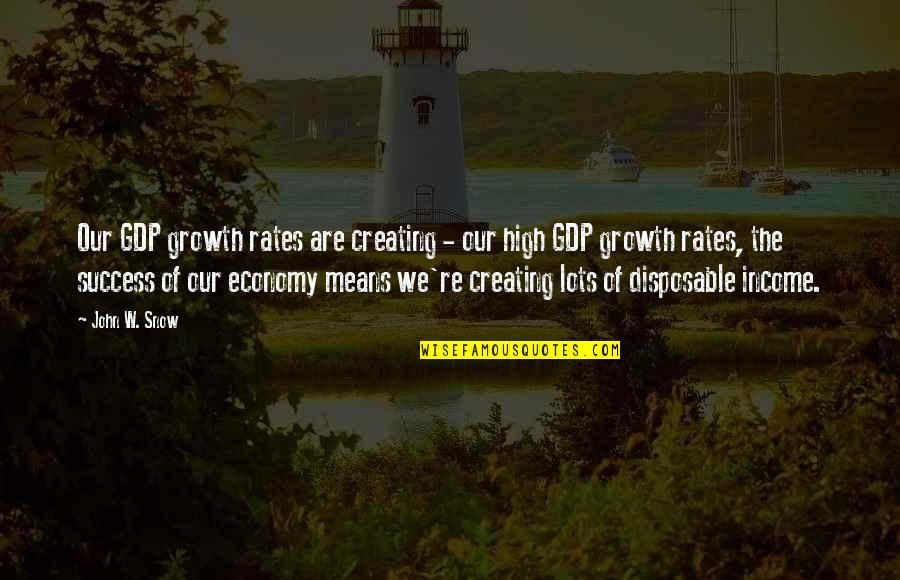 Congratulations For Success Quotes By John W. Snow: Our GDP growth rates are creating - our