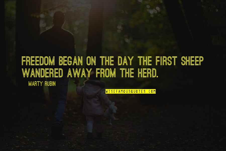 Congratulations On A New Baby Quotes By Marty Rubin: Freedom began on the day the first sheep