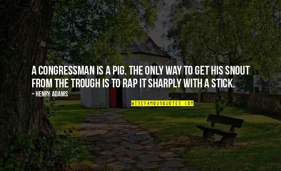 Congressman's Quotes By Henry Adams: A congressman is a pig. The only way
