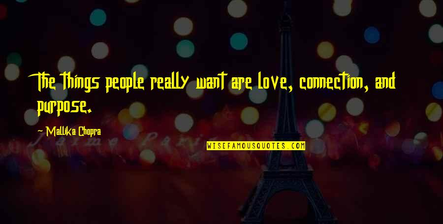 Connection And Love Quotes By Mallika Chopra: The things people really want are love, connection,