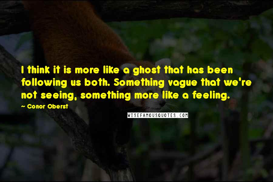 Conor Oberst quotes: I think it is more like a ghost that has been following us both. Something vague that we're not seeing, something more like a feeling.