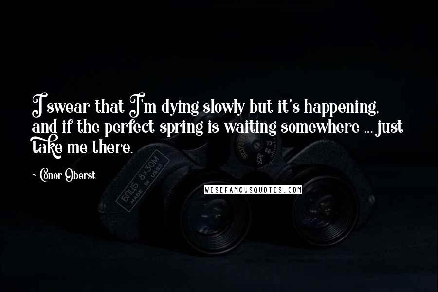 Conor Oberst quotes: I swear that I'm dying slowly but it's happening, and if the perfect spring is waiting somewhere ... just take me there.