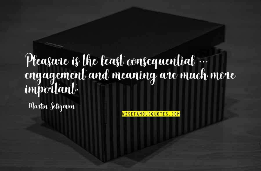 Consequential Quotes By Martin Seligman: Pleasure is the least consequential ... engagement and