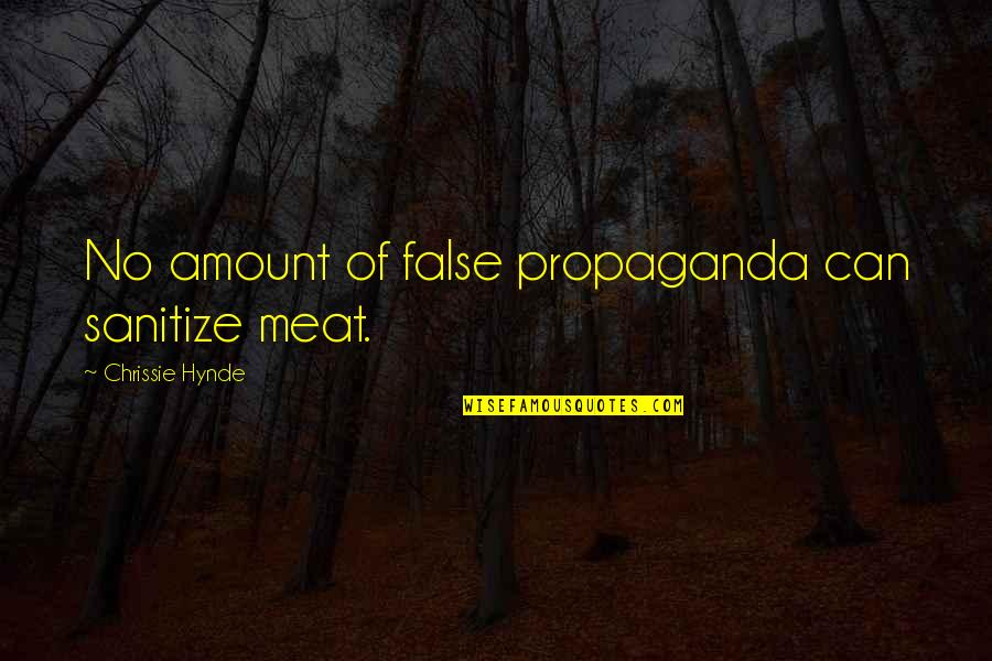 Conserving Soil Quotes By Chrissie Hynde: No amount of false propaganda can sanitize meat.