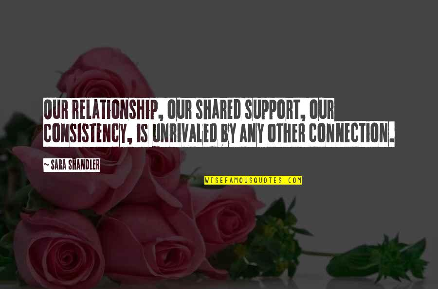 Consistency In A Relationship Quotes By Sara Shandler: Our relationship, our shared support, our consistency, is