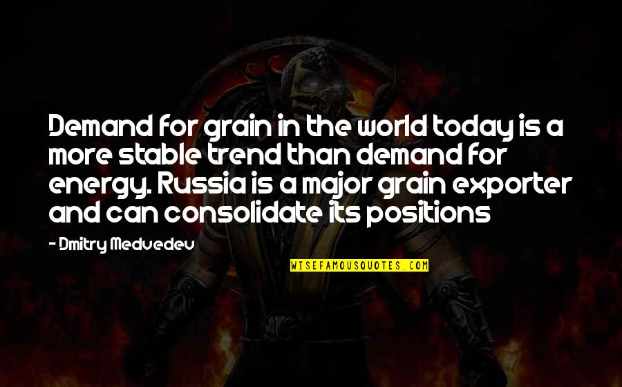 Consolidate Quotes By Dmitry Medvedev: Demand for grain in the world today is