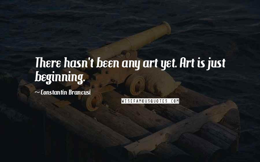 Constantin Brancusi quotes: There hasn't been any art yet. Art is just beginning.