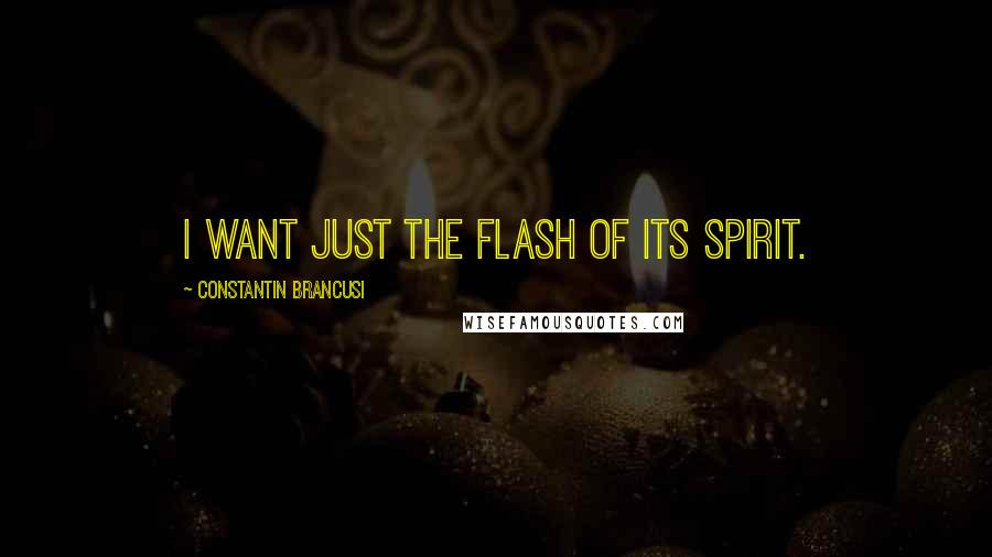 Constantin Brancusi quotes: I want just the flash of its spirit.
