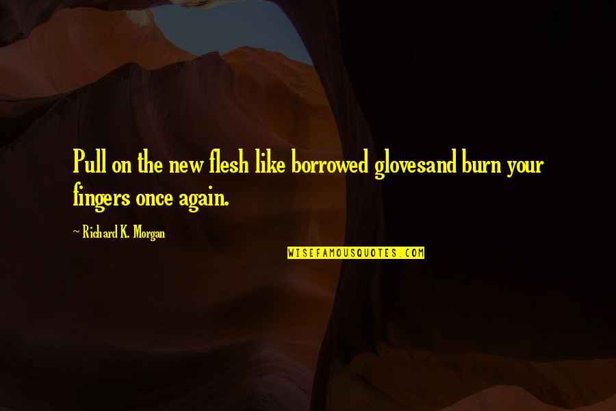 Consultancy Funny Quotes By Richard K. Morgan: Pull on the new flesh like borrowed glovesand