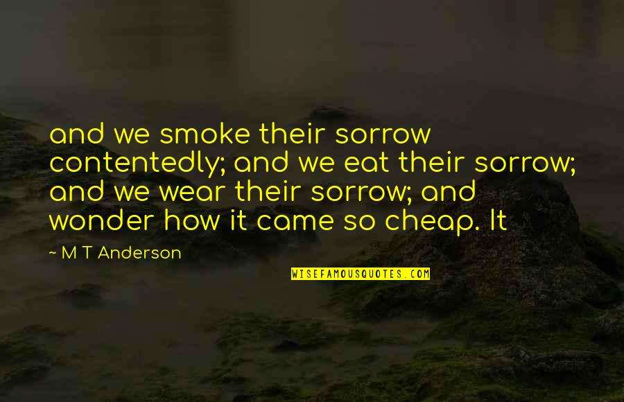 Contagious Attitudes Quotes By M T Anderson: and we smoke their sorrow contentedly; and we